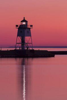 Grand Marais Lighthouse At Sunset | Lake Superior | Minnesota | Photo By John Brueske