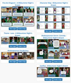 Holy Motherload of all things Comics and Literary! Who knew that Storyboard That offered  Character Maps, Act Diagrams, Vocabulary Maps, and So Much More. I am Smitten, I Say! - http://www.storyboardthat.com/teacher-guide/a-midsummer-nights-dream-by-william-shakespeare