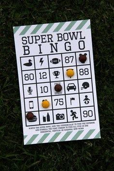 Creative twist on bingo! #superbowl #party To keep the kids occupied and interested during the game!