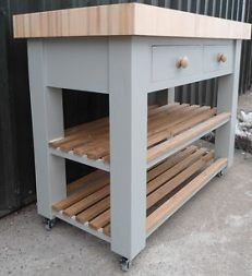 Butchers Block (bloc) Island (trolly) beech and hand painted optional castors Butchers Block Trolley, Butcher Block Island, Kitchen Trolley, Butcher Blocks, Kitchen Work Station, Green Wall Color, Shaker Kitchen, Kitchen Small, Small Kitchens