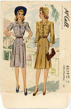 1940s Dress Pattern McCall 4579 Bust 38 Shirtwaist by CynicalGirl