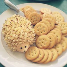 Cute hedgehog cheeseball for a baby shower