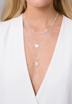 SILVER MULTILAYER DROP AND COIN NECKLACE
