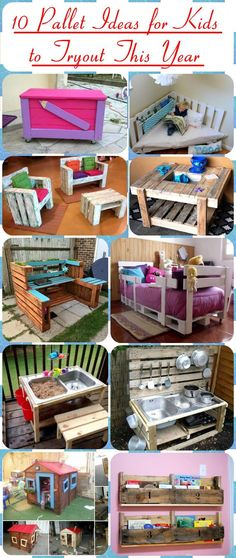 Checkout here these 10 DIY pallet ideas for kids that are sure to boost up the fun of your kids! 99 Pallets - out of - for Pallet furniture lover. ideas for kids 10 Pallet Ideas for Kids to Tryout This Year Pallet Kids, Wooden Pallet Projects, Wooden Pallet Furniture, Pallet Crafts, Wooden Pallets, Repurposed Furniture, Pallet Sofa, Pallet Patio, Outdoor Pallet