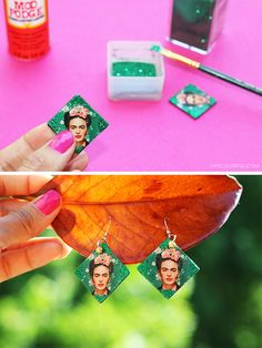 DIY: Frida Kahlo Decoupage Earrings (Aretes inspirados en Frida Kahlo) | Live Colorful