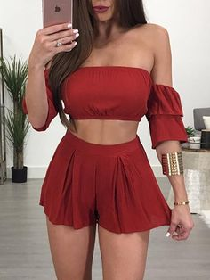Fashion Off Shoulder Pleated Cropped Twinset