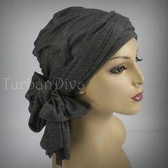 Gray or Navy Turban Head Wrap Alopecia Chemo Head Scarf Jersey Knit ebb27b0fd8d