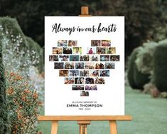 Graduation Poster Ideas Discover Funeral Picture Collage Poster Always In Our Hearts Welcome Sign Display Guest Book Table Celebration of Life Memorial Photo Gift Favor Funeral Planning, Funeral Ideas, Funeral Gifts, Funeral Songs, Funeral Quotes, Funeral Posters, Collage Des Photos, Heart Collage Of Pictures, Heart Picture Collage