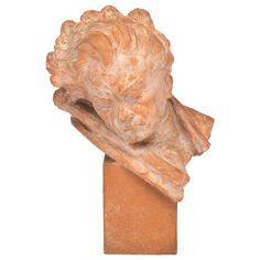 Antique Terracotta Bust of Beethoven, Signed