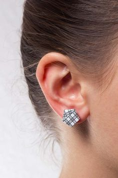 Stud Earrings – Paper Origami stainless steel black white plaid – a unique…