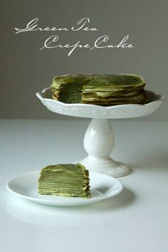 Green Tea Crepe  Ingredients (9-inch 18-layer cake): Crepes 6 tablespoons unsalted butter, melted and cooled 2 1/3 cups milk 6 large eggs 1 1/2 cup all purpose flour 1/4 teaspoon salt 1/2 cup granulated sugar 2 tablespoons matcha powder Green Tea Pastry Cream 3 cups whole milk 1 teaspoon pure vanilla extract 1/4 teaspoon salt 1 1/2 tablespoons matcha powder 4 egg yolks 1/3 cup granulated sugar 2 tablespoons cornstarch 2 tablespoons all purpose flour Others 1 tablespoon powdered sugar