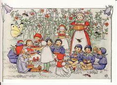 New Single Postcard by Elsa Beskow Childrens Flower Butterfly | eBay