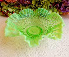 Vintage Fenton Art Glass Green Vaseline Opalescent Hobnail Ruffled Bowl #Fenton