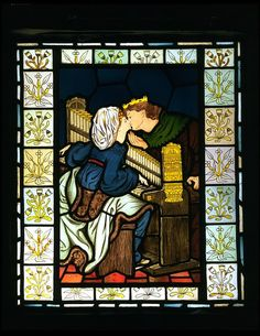 King René's Honeymoon; Music        Object:        Panel      Place of origin:        London, England (made)      Date:        ca. 1863 (made)      Artist/Maker:        Dante Gabriel Rossetti, born 1828 - died 1882 (designer)      Morris & Co. (maker)      Materials and Techniques:        Stained and painted glass