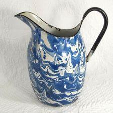 Beautiful antique graniteware pitcher - blue and white swirl