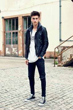 Viparo Leather Jacket, Cheap Monday Shirt, Weekday Jeans, Leather Converse Chucks