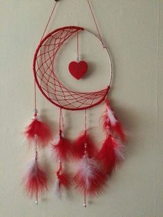 Buy Valentines Dream Catcher half moon with rose quartz crystals. Handmade by creative people crafting through DISABILITIES, CHRONIC ILLNESS or are CARERS