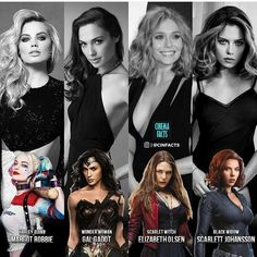 Harley Quinn, Wonder Woman, Scarlet Witch, and Black Widow