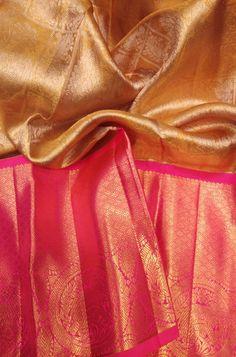 Pastel Handloom Kanjeevaram Pure Silk Saree With Big Border