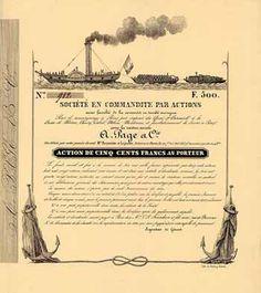 Societe en Commandite par Actions la Raison Sociale A. Page et Cie. Action 500 F Okt. 1837 (Teilblankette, R 12).