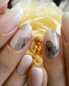 Black watercolor flower nails