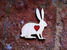Hare laser cut wooden brooch on Etsy, £5.00