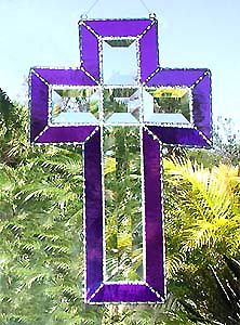 """Beveled Cross Suncatcher w/ Purple Stained Glass - 7"""" x 12"""" - $31.95 - From Accent on Glass - Visit us at www.AccentonGlass.com"""