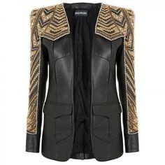 Balmain Leather jacket with beading