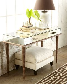 """Shop """"Solomon"""" Mirrored Console from Arteriors at Horchow, where you'll find new lower shipping on hundreds of home furnishings and gifts. Contemporary Side Tables, Contemporary Furniture, Luxury Furniture, Furniture Design, Furniture Ideas, Small Modern Home, Living Room Cabinets, Master Room, Console Table"""