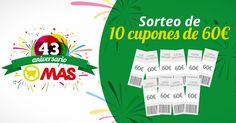 ¿Quieres ganar 60€ con @Supermecadomas? Regalamos 10 cupones de 60€ por nuestro Aniversario!