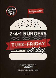 Burger, Food, Poster Graphic Design for Revolution Vodka Bar by www.diagramdesign.co.uk