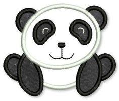 PANDA BEAR  Applique 4x4 5x7 6x10  Machine Embroidery Design. $2.99, via Etsy.