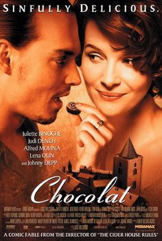 Chocolat, Juliette Binoche as the owner of a French chocolate shop who falls for a gypsy Johnny Depp. Sinfully good.