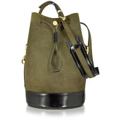 Kenzo Bike Suede Tea Green Leather Bucket Bag (9.933.870 IDR) ❤ liked on Polyvore featuring bags, handbags, shoulder bags, green, vintage leather purse, green leather shoulder bag, leather bucket bag, genuine leather handbags e leather shoulder handbags