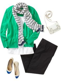 Cute outfit from Old Navy -- love the cardigan and blue-tipped flats. #fashion #plussize