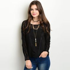 Shop The Trends Women's Long Sleeve Sheer Top