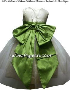Bisque Creme and Vine Green Blue Ballerina Style Flower Girl Dresses by Pegeen.com with Cinderella Bow