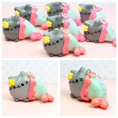 Pusheen the Cat Mermaid Charm Pendant Necklace Polymer Clay Handmade Jewelry by Sweet Clay Creations