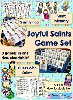 Catholic Crafts, Catholic Kids, Catholic Saints, Catholic School, Catholic Homeschooling, Saints For Kids, All Saints Day, Religion Activities, Saints Game