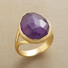 GEODESIC RING�--�An amethyst dome, intricately faceted, rises from a textured 14kt gold vermeil bezel on a polished 14kt gold vermeil band. Exclusive. Whole size 5 to 9.