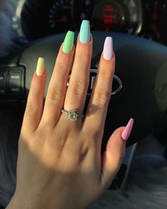 133 most eye catching different color coffin nails for prom and . Coffin Nails coffin nails for prom Acrylic Nails Coffin Short, Simple Acrylic Nails, Summer Acrylic Nails, Pastel Nails, Best Acrylic Nails, Simple Nails, Coffin Nails, Summer Nails, Spring Nails