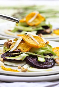Fennel Salad with Roasted Beets and Shaved Asparagus