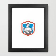 Barber Hair Clipper Scissors Shield Retro  Framed Art Print