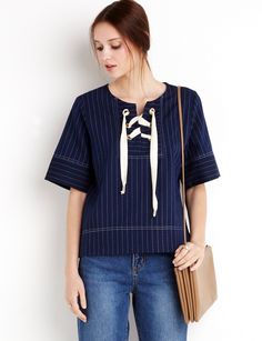 Pinstripe Eyelet Top by New Revival