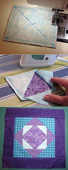 Exploding Block Tutorial | Beyond Sock Monkeys ~ My Quilting Adventures Quilting Tips, Quilting Tutorials, Quilting Projects, Quilting Designs, Sewing Projects, Crochet Square Patterns, Quilt Block Patterns, Quilt Blocks, Sewing Patterns