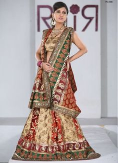 Wedding Multicolor Lehenga Gorgeous Brocade Long Skirt Plus Size PS-2106 #EthnicDresses #SalwarKameez