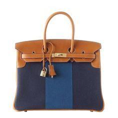 HERMES BIRKIN 35 Bag Blue FLAG Toile Barenia Leather Permabrass Limited Ediiton