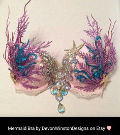 Mermaid bra with coral and jewels by DevonWinstonDesigns