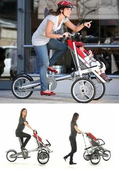 This bike stroller turns walking stroller. I need this!
