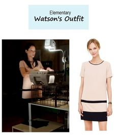 "March 4, 2014 @ 4:00 pm Lucy Liu as Joan Watson in Elementary - ""The Many Mouths of Aaron Colville"" (Ep. 219). Watson's Dress:Club Monaco ""Iva"" Blocked Dress $198.50 $99 here. More Elementary fashion here. Source: CBS P.S. Updates on PINTEREST"